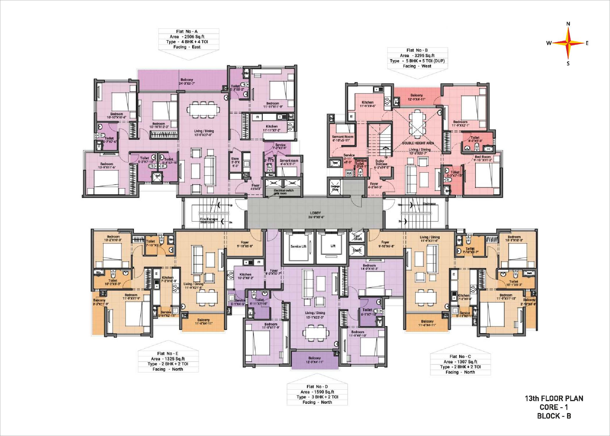 13th Floor plan Block B Core 1