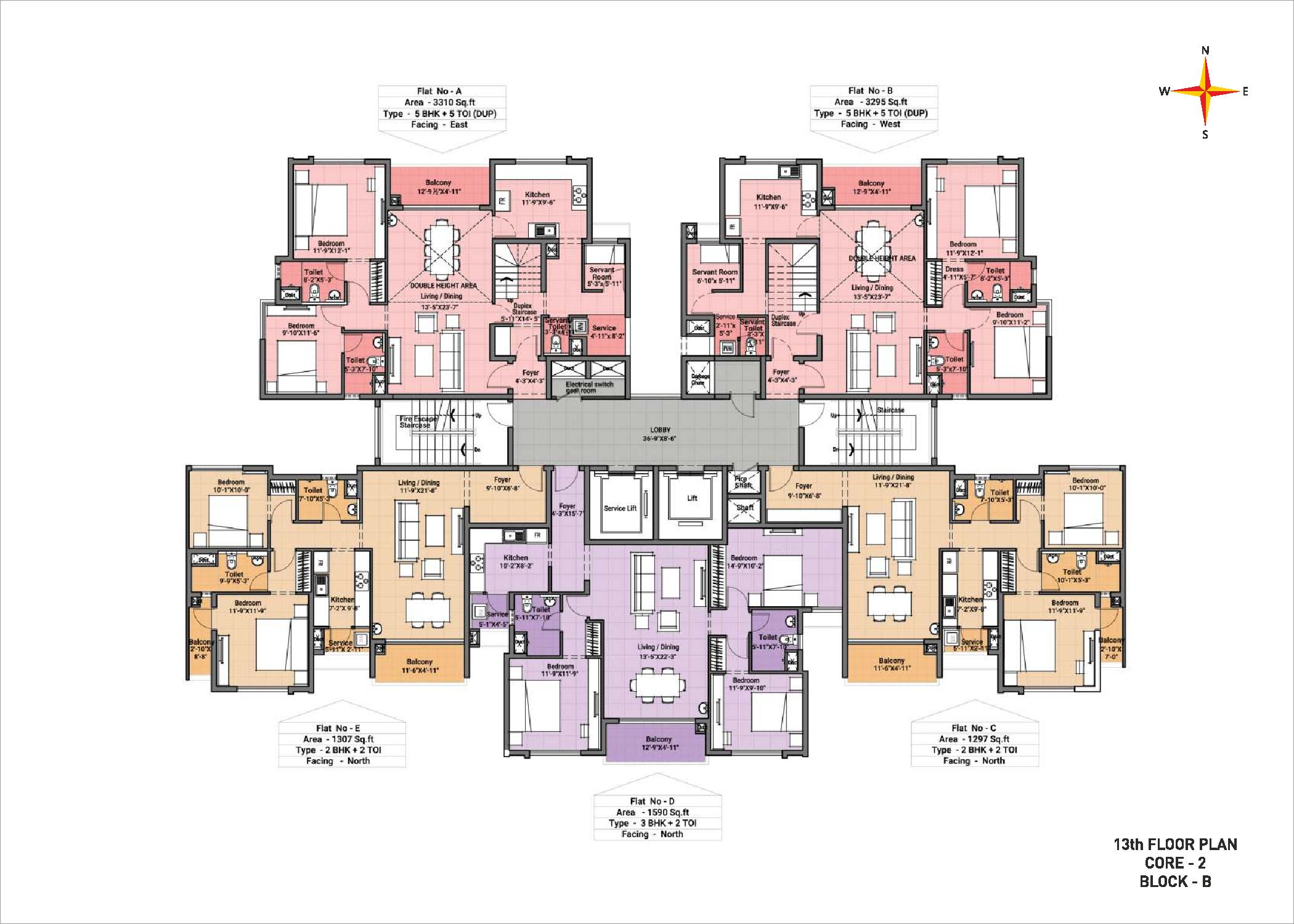 13th Floor plan Block B Core 2