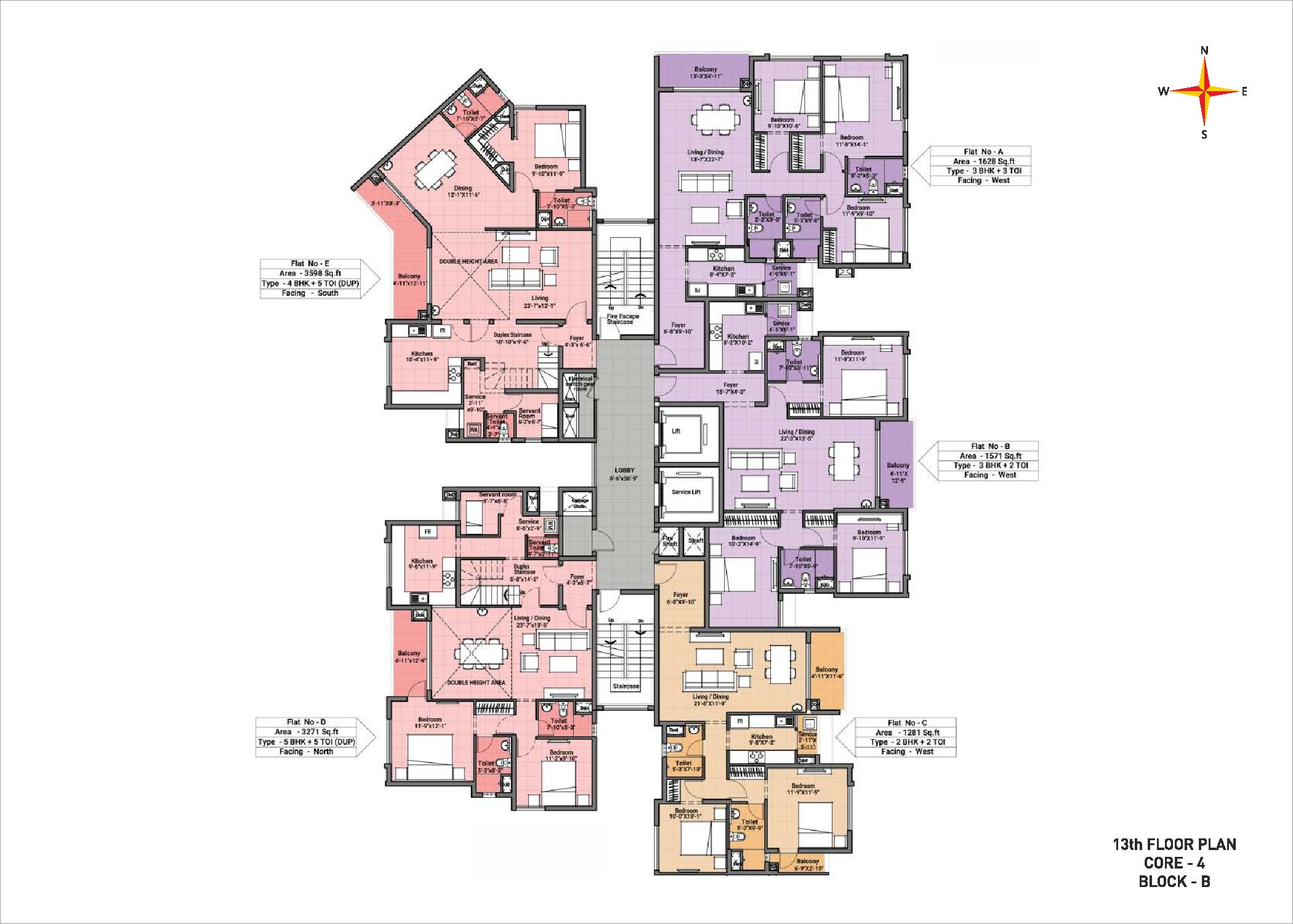 13th Floor plan Block B Core 4