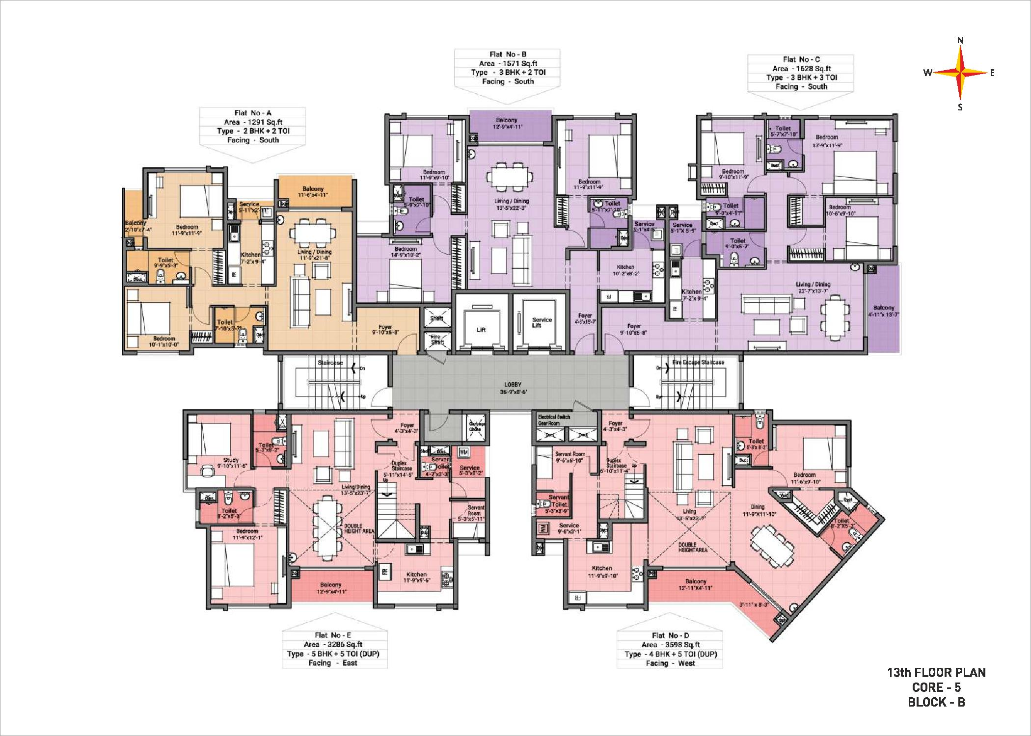 13th Floor plan Block B Core 5