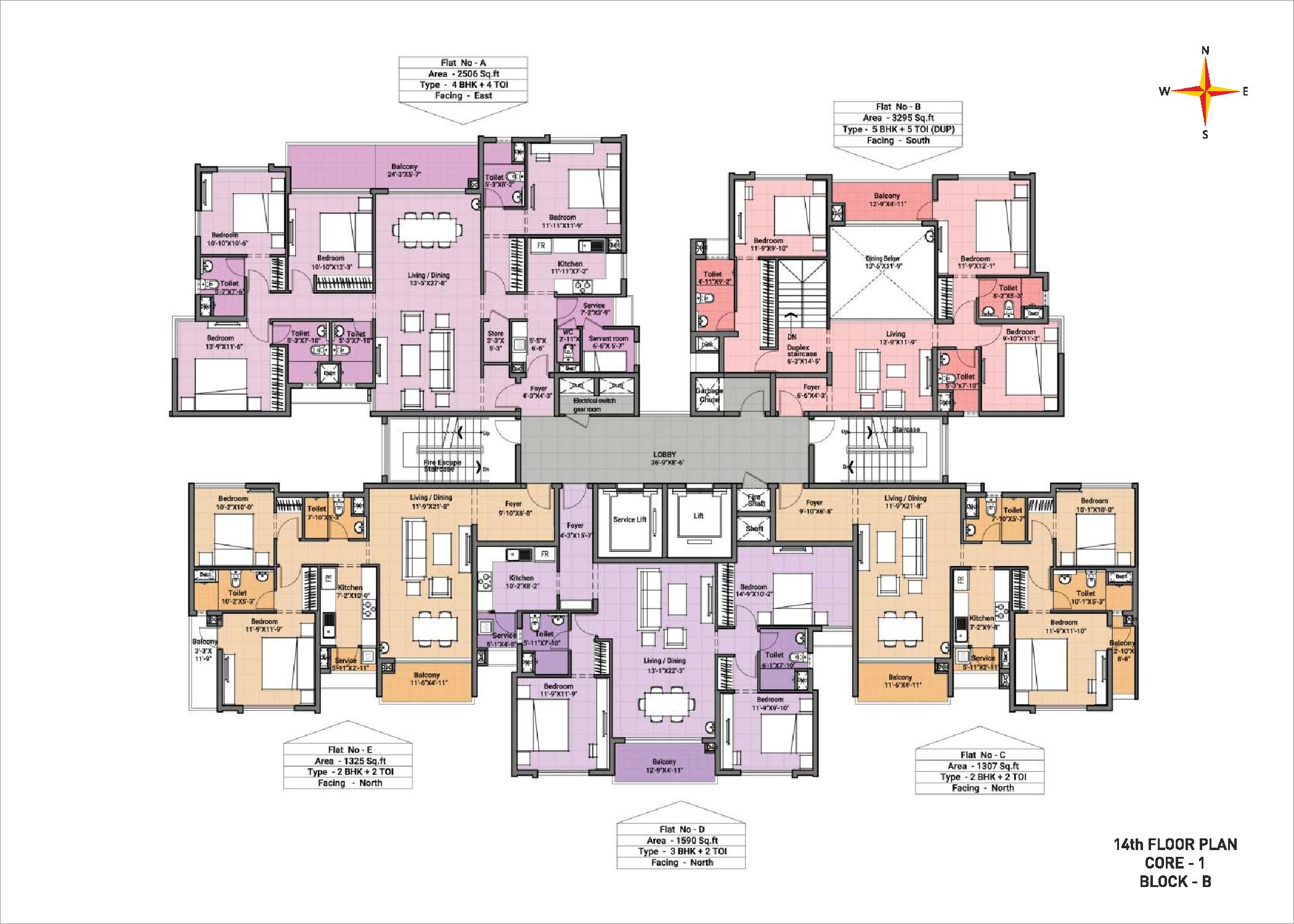 14th Floor plan Block B Core 1