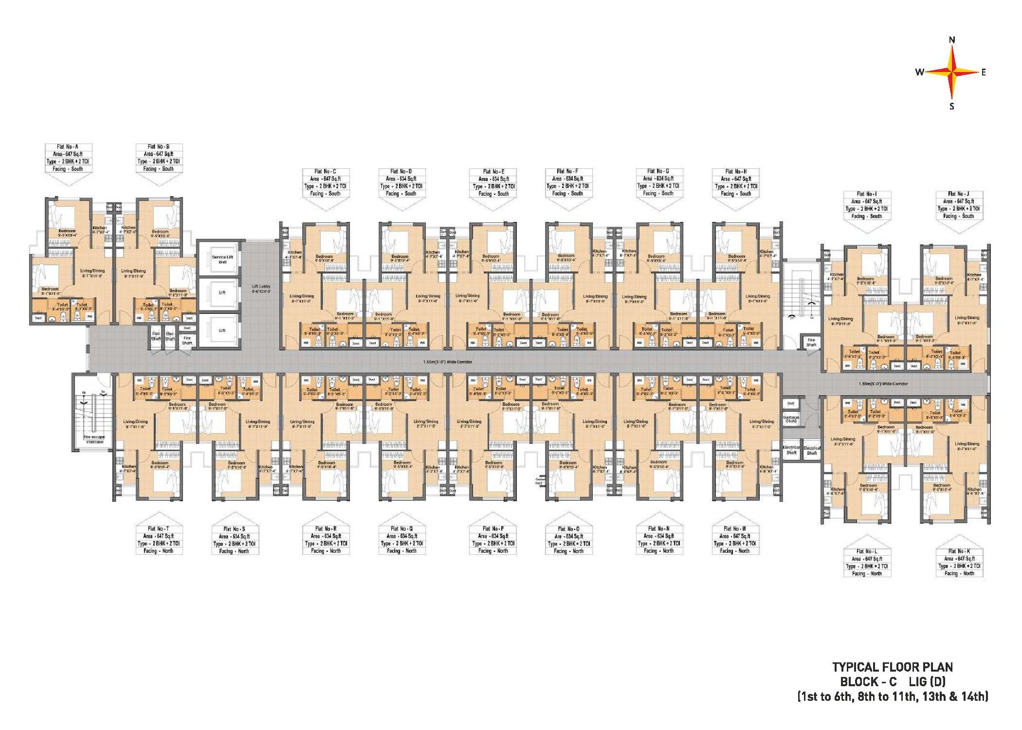 Typical Floor plan Block C LIG(D) (1-6th,8-11th,13th&14th)