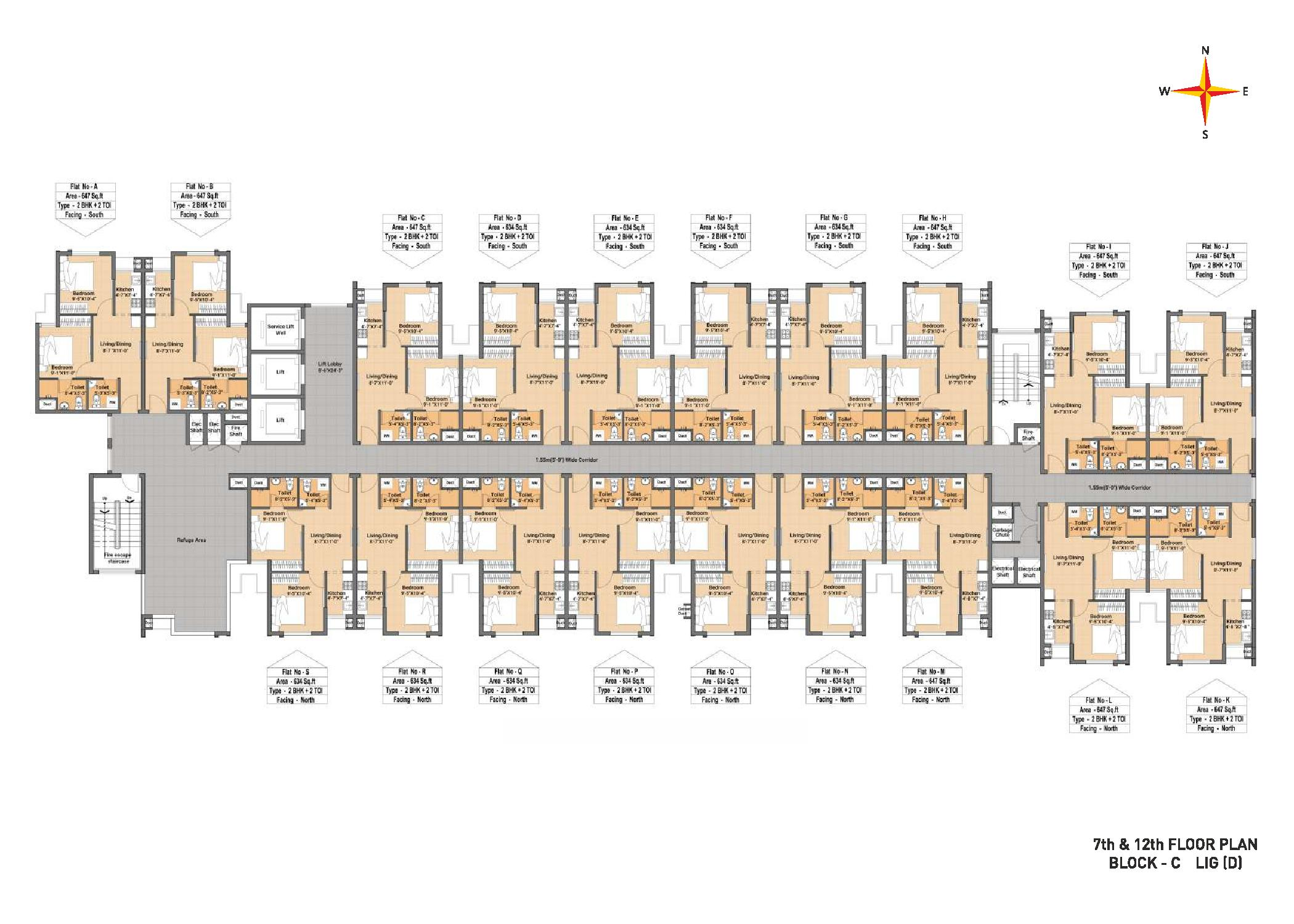 Typical Floor plan Block C LIG(D) 7th & 12th Floor plan