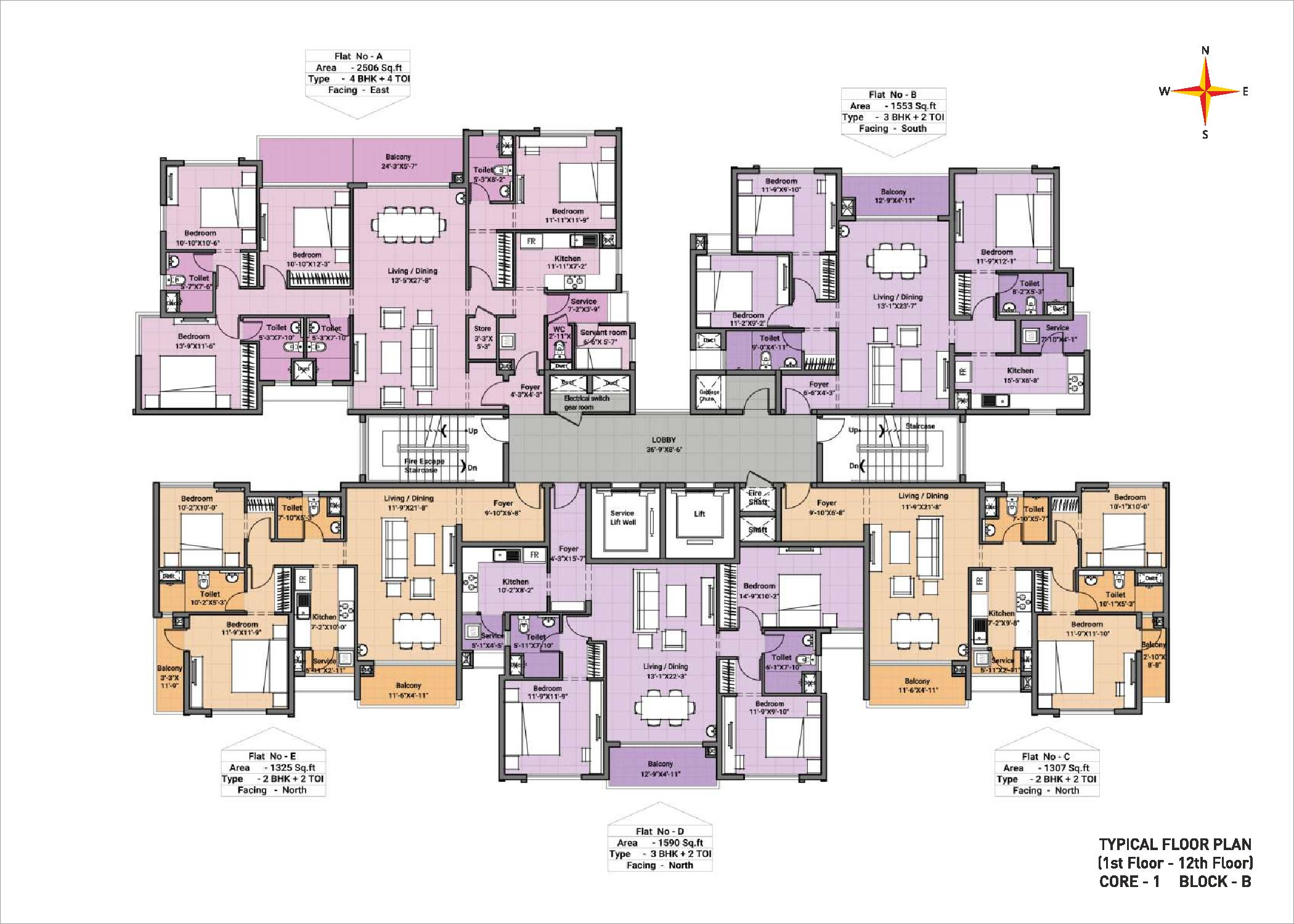 Typical floor plan - Block B Core 1(1-12th floor)