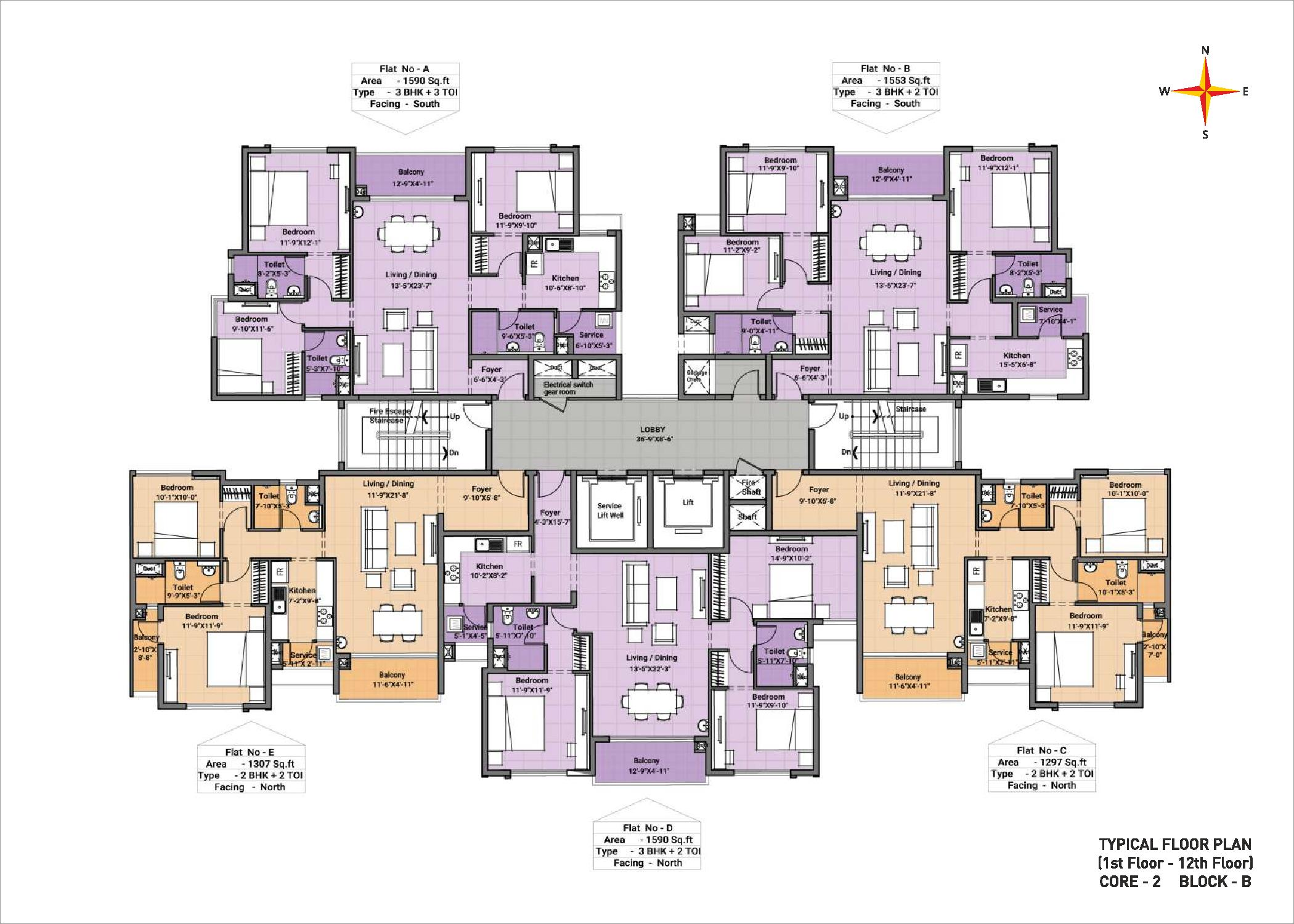 Typical floor plan - Block B Core 2(1-12th floor)