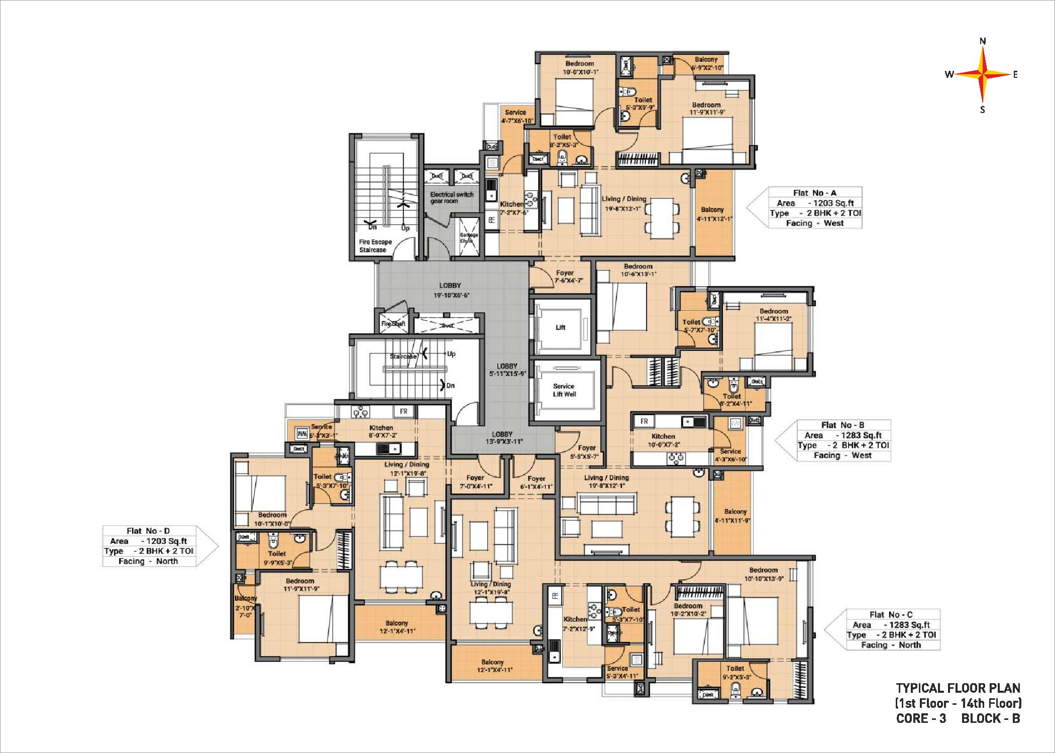 Typical floor plan - Block B Core 3(1-14th floor)