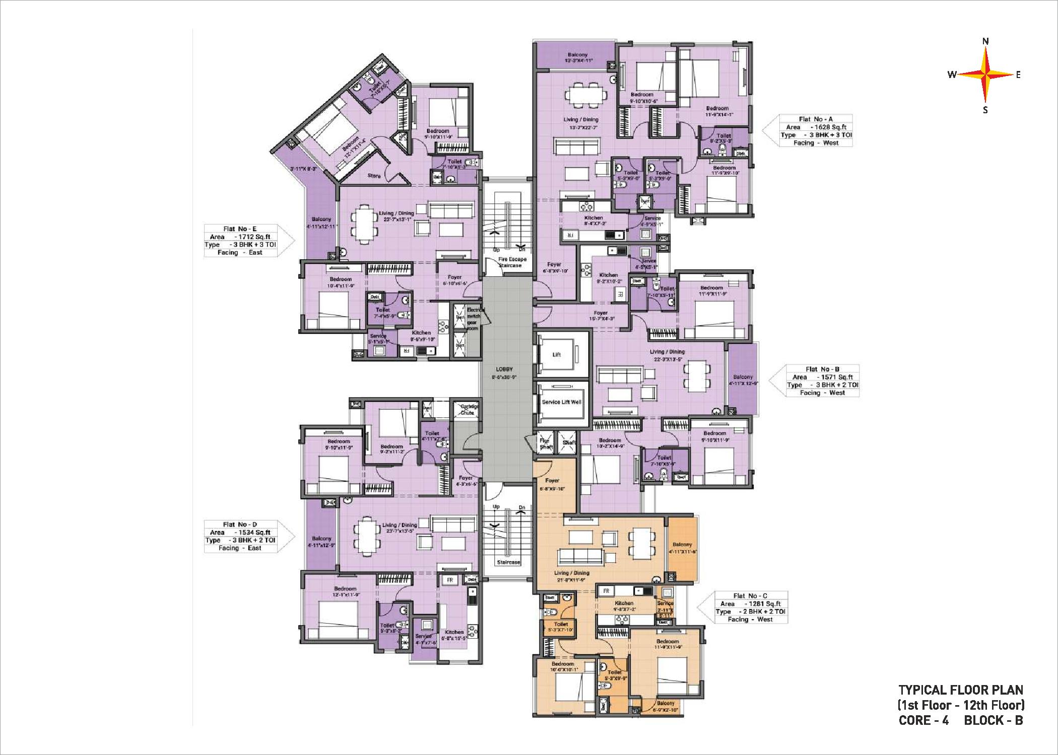 Typical floor plan - Block B Core 4(1-12th floor)