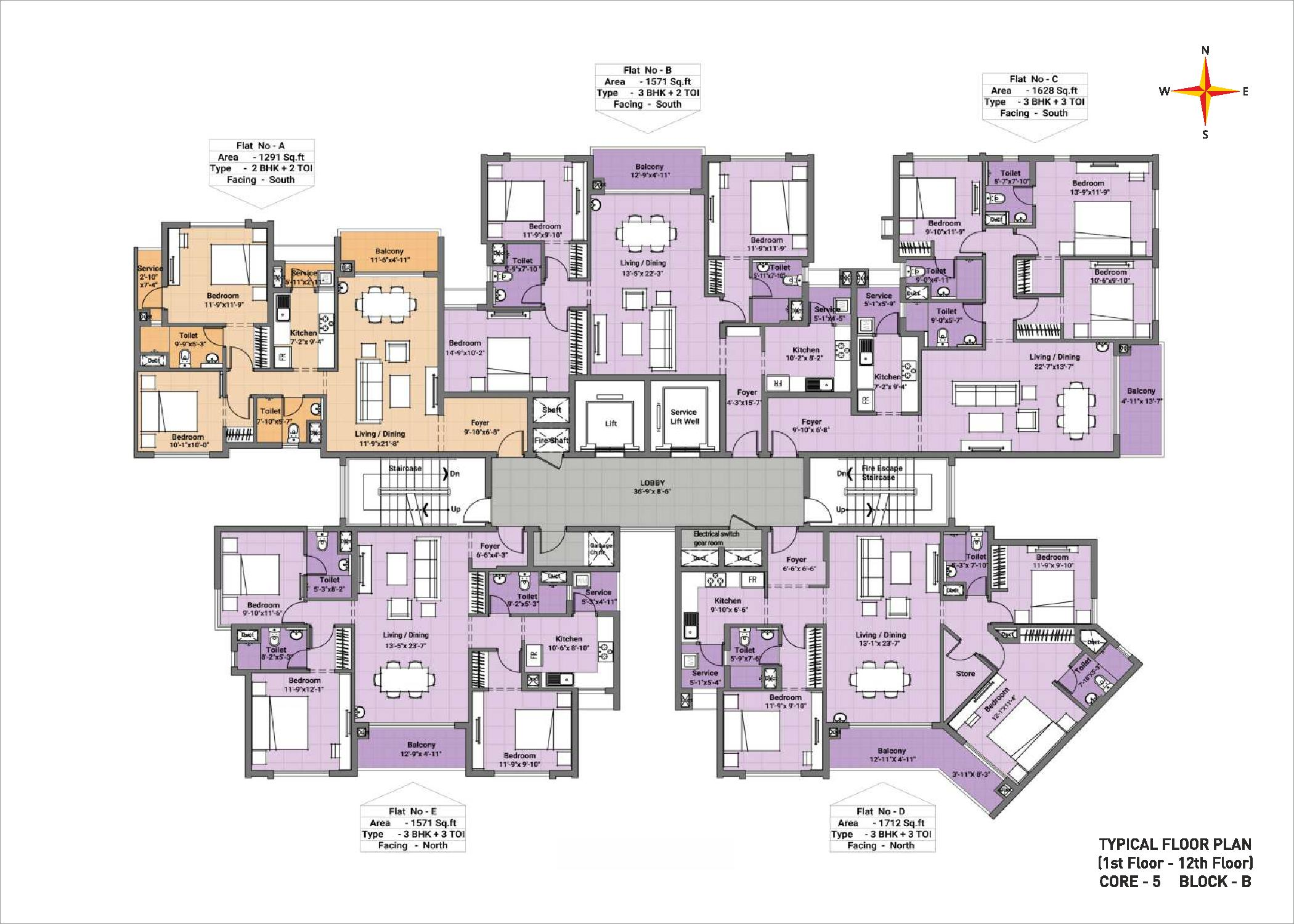 Typical floor plan - Block B Core 5(1-12th floor)