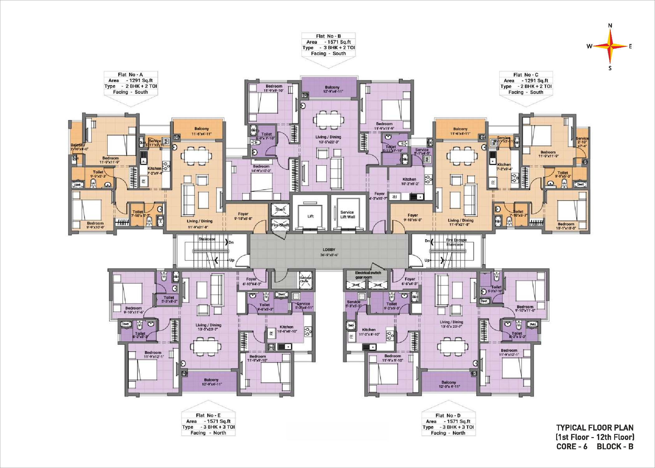 Typical floor plan - Block B Core 6(1-12th floor)